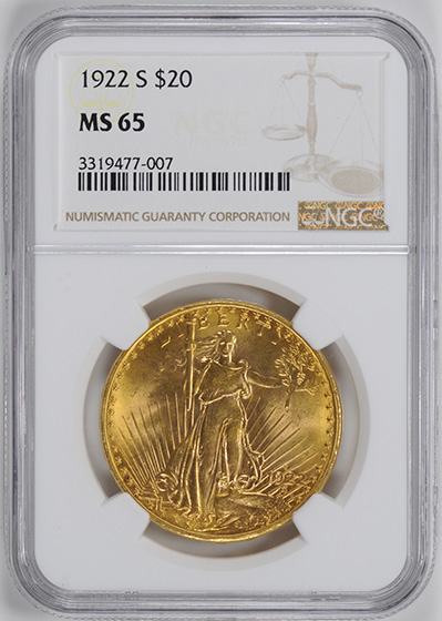 Picture of 1922-S ST. GAUDENS $20 MS65