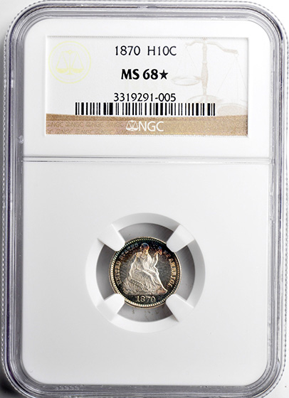 Picture of 1870 LIBERTY SEATED H10C MS68