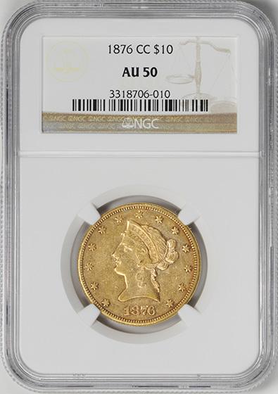 Picture of 1876-CC LIBERTY HEAD $10 AU50
