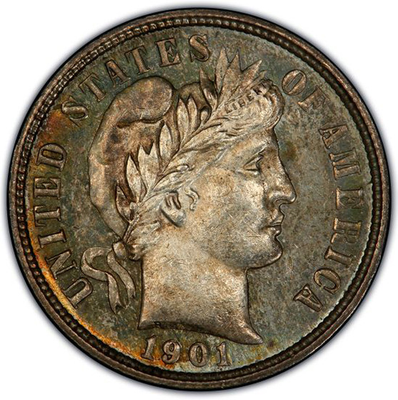 Picture of 1901-O BARBER 10C MS64