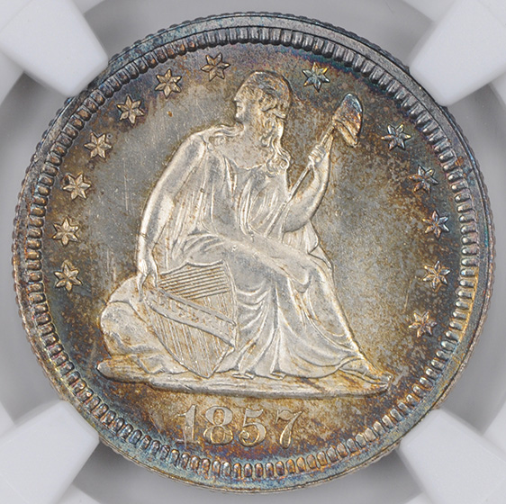 Picture of 1857 LIBERTY SEATED 25C, NO MOTTO MS67