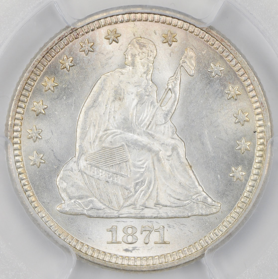 Picture of 1871 LIBERTY SEATED 25C, MOTTO MS65
