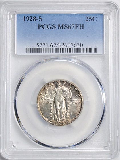 Picture of 1928-S STANDING LIBERTY 25C MS67 Full Head