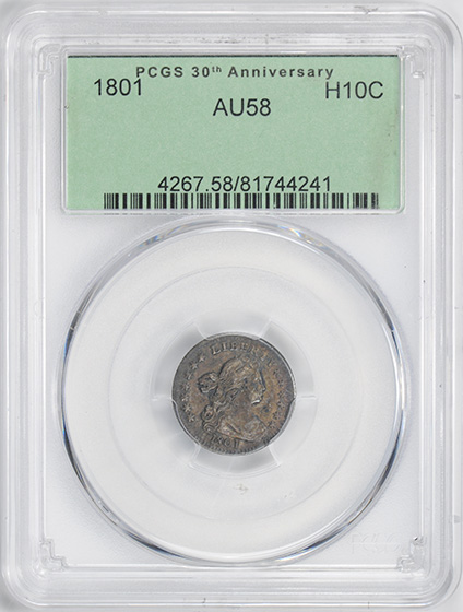 Picture of 1801 DRAPED BUST H10C AU58