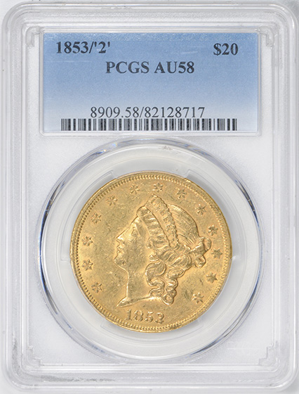 Picture of 1853/2 LIBERTY HEAD $20, OVERDATE AU58