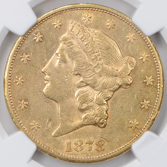 Picture of 1878-CC LIBERTY HEAD $20 AU55