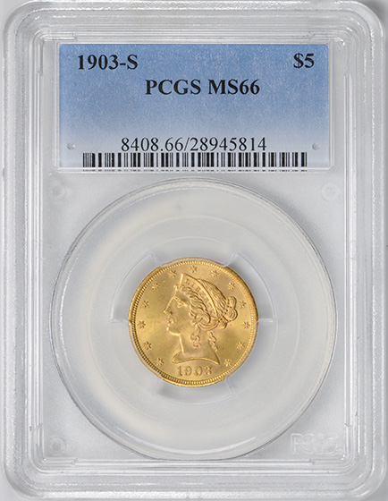 Picture of 1903-S LIBERTY $5 MS66