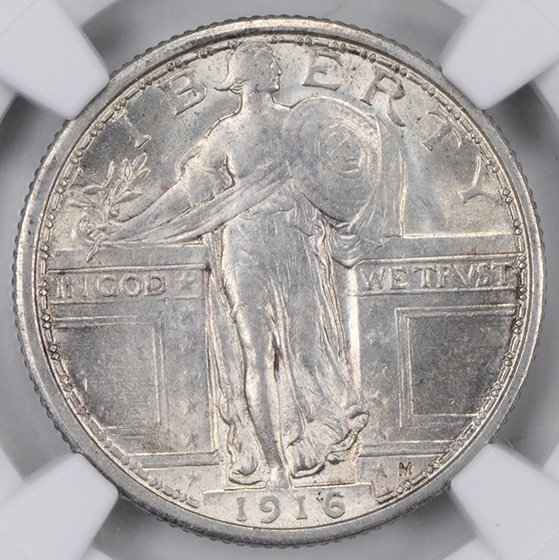 Picture of 1916 STANDING LIBERTY 25C, STANDING LIBERTY MS62