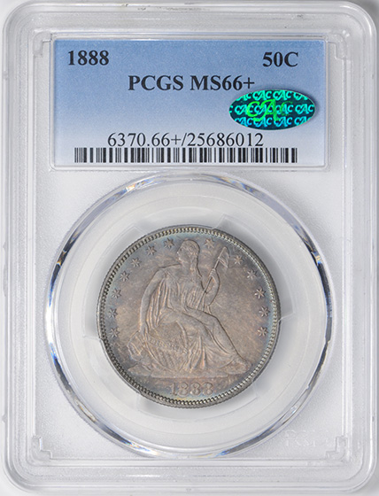 Picture of 1888 LIBERTY SEATED 50C, MOTTO MS66+