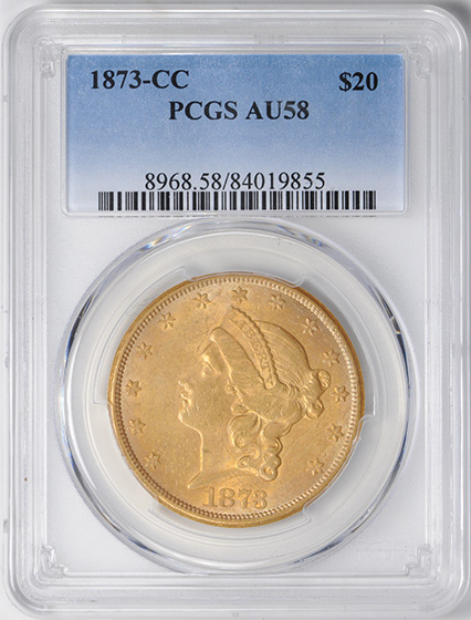 Picture of 1873-CC LIBERTY HEAD $20 AU58