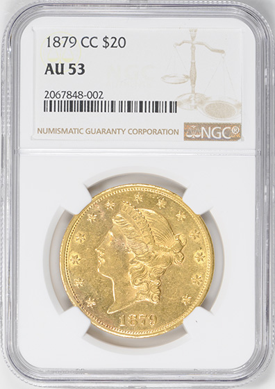 Picture of 1879-CC LIBERTY HEAD $20 AU53
