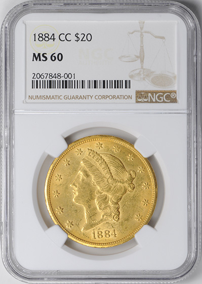 Picture of 1884-CC LIBERTY HEAD $20 MS60