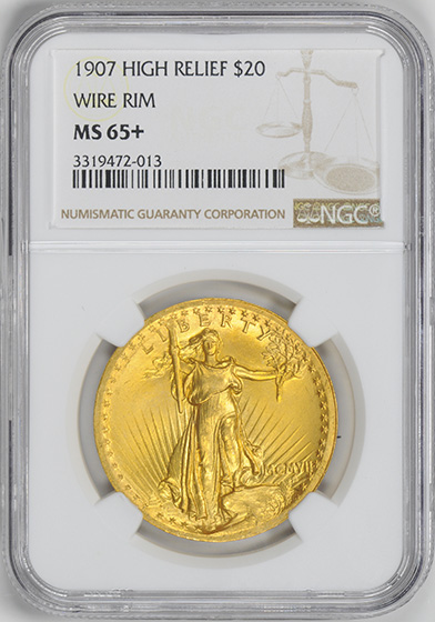 Picture of 1907 ST. GAUDENS $20, HIGH RELIEF-WIRE EDGE MS65+