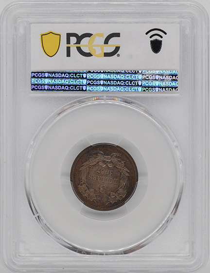 Picture of 1867 $3 J-596 PR65 Brown