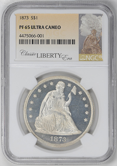 Picture of 1873 LIBERTY SEATED S$1 PR65 Deep Cameo