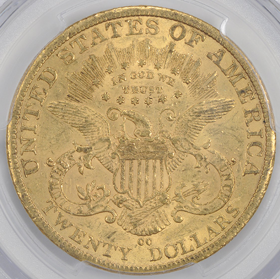 Picture of 1884-CC LIBERTY HEAD $20 AU55