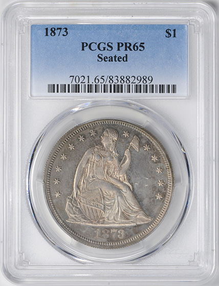 Picture of 1873 LIBERTY SEATED S$1, SEATED PR65