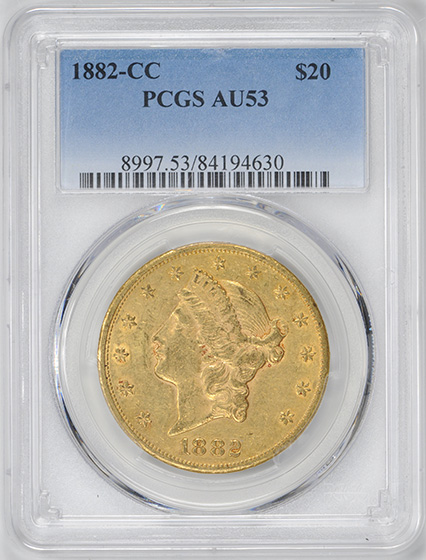 Picture of 1882-CC LIBERTY HEAD $20 AU53