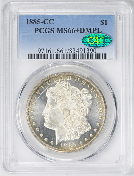 Picture of 1885-CC MORGAN S$1 MS66+ DMPL