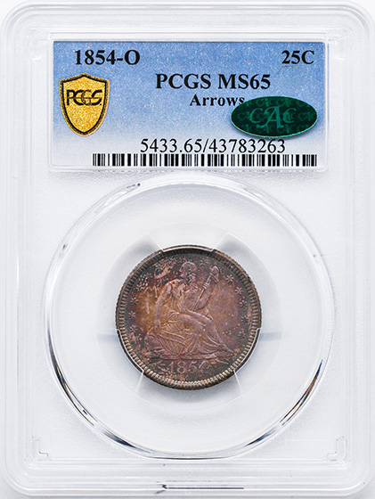Picture of 1854-O LIBERTY SEATED 25C, ARROWS MS65