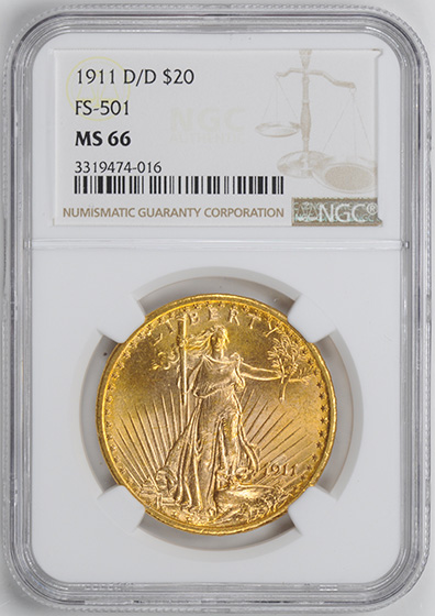 Picture of 1911-D/D ST. GAUDENS $20 MS66