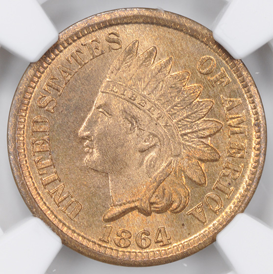 Picture of 1864 INDIAN BRONZE 1C MS67 Red