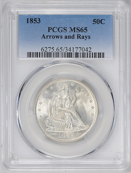 Picture of 1853 LIBERTY SEATED 50C, ARROWS AND RAYS MS65
