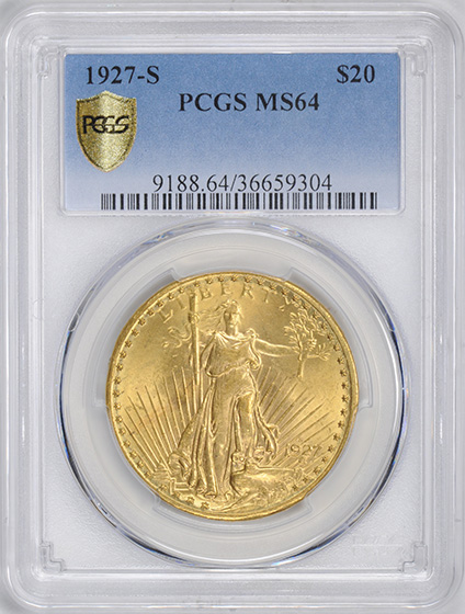 Picture of 1927-S ST. GAUDENS $20 MS64