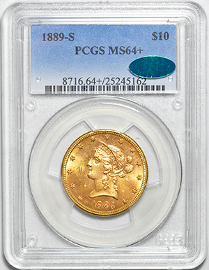 Picture of 1889-S LIBERTY HEAD $10 MS64+