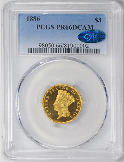 Picture of 1886 INDIAN PRINCESS $3 PR66 Deep Cameo