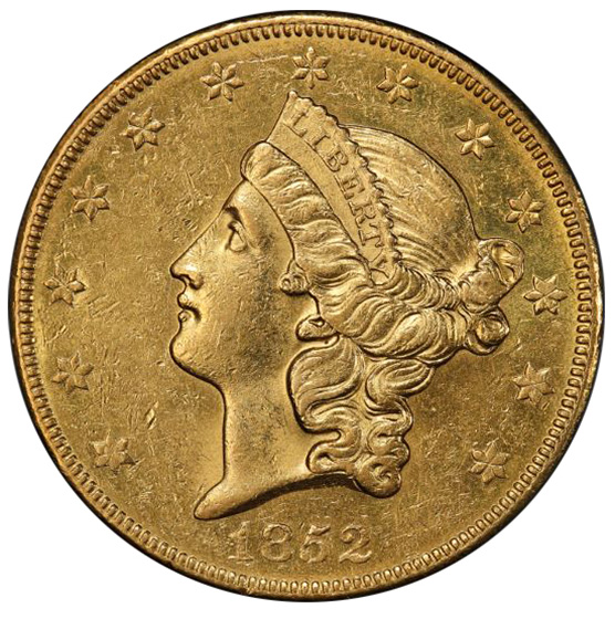 Picture of 1852-O LIBERTY HEAD $20 AU58