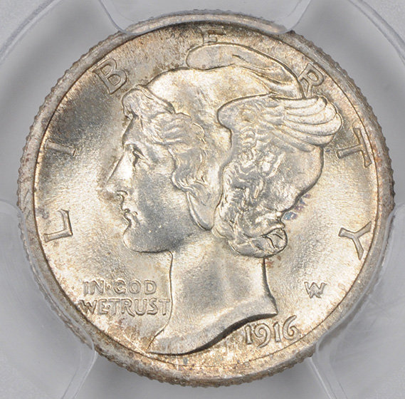 Picture of 1916-D MERCURY 10C MS66+ Full Bands