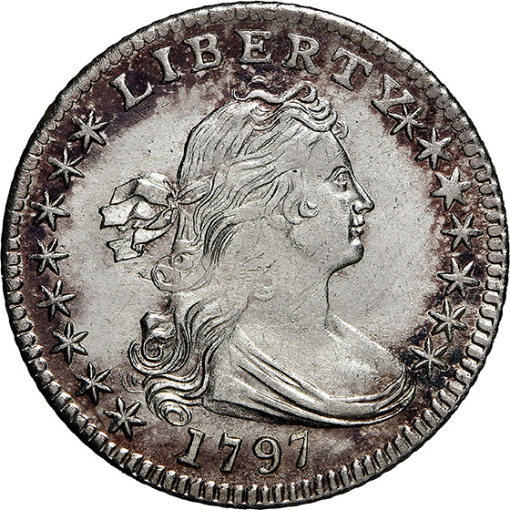 Picture of 1797 DRAPED BUST H10C, 15 STARS, SMALL EAGLE MS65