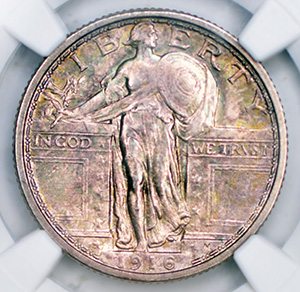 Picture of 1916 STANDING LIBERTY 25C, STANDING LIBERTY MS65 Full Head