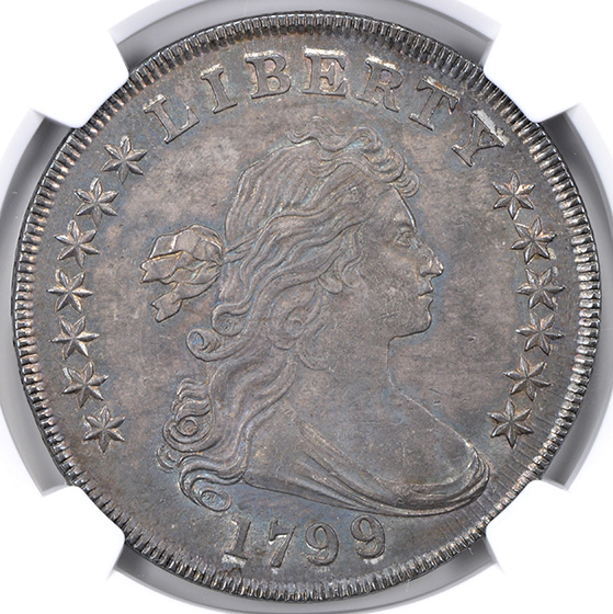 Picture of 1799/8 DRAPED BUST $1, 15 REVERSE STARS MS63+
