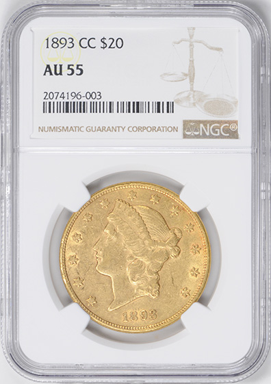 Picture of 1893-CC LIBERTY HEAD $20 AU55