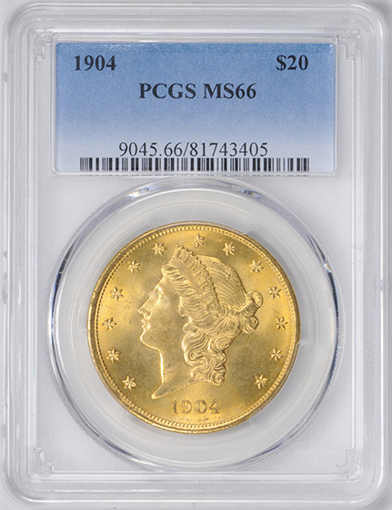 Picture of 1904 LIBERTY HEAD $20 MS66