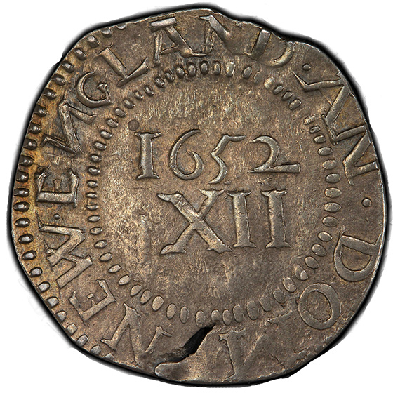 Picture of 1652 PINE TREE SHILLING, PINE TR, LG PL, NO PEL AU55