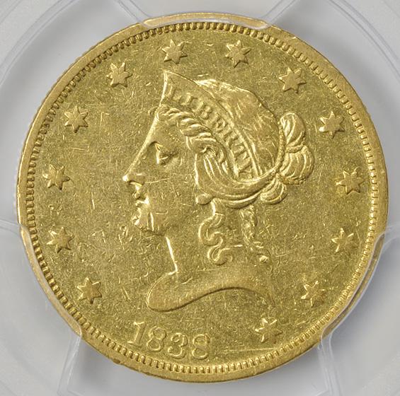 Picture of 1838 LIBERTY $10, NO MOTTO, COV. EAR AU50
