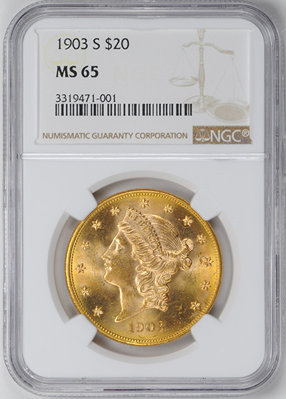 Picture of 1903-S LIBERTY HEAD $20 MS65