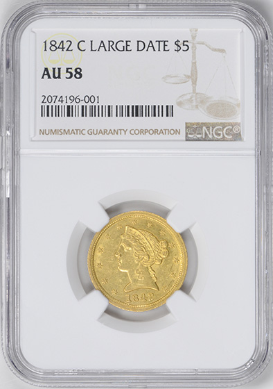 Picture of 1842-C LIBERTY $5, LARGE DATE AU58