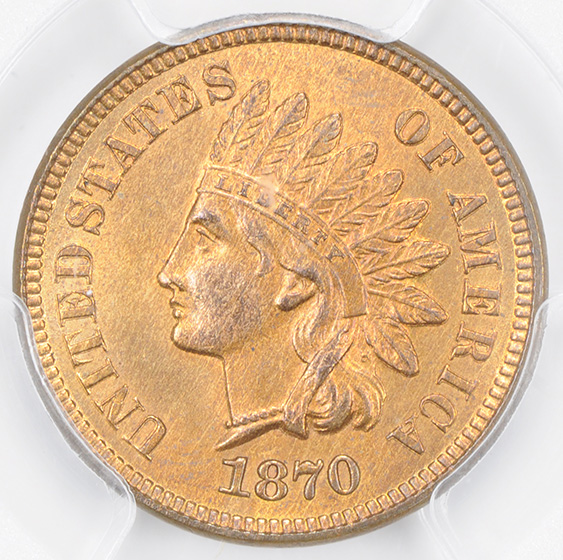 Picture of 1870 INDIAN BRONZE 1C MS65+ Red