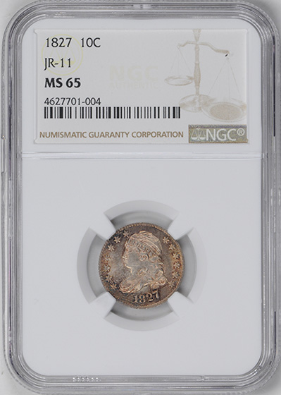Picture of 1827 CAPPED BUST 10C MS65