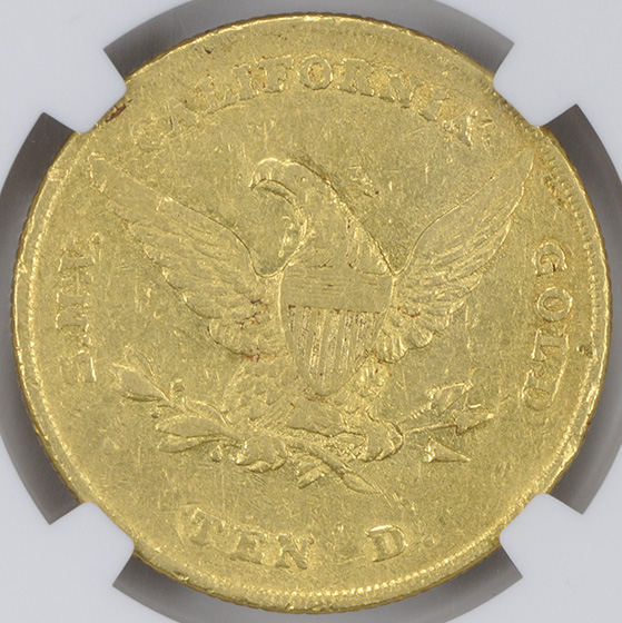 Picture of 1852 WASS, MOLITOR & CO. $10, WASS MOLITOR, LG HEAD AU58