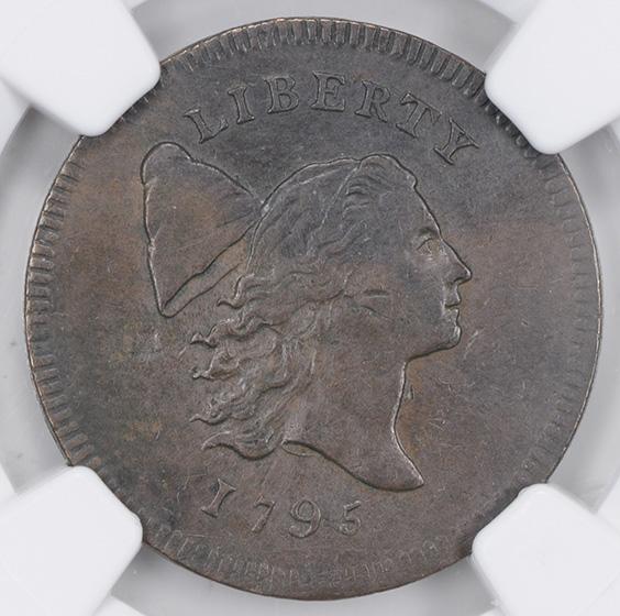 Picture of 1795 LIBERTY CAP 1/2, PLAIN EDGE, NO POLE AU55 Brown