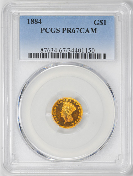 Picture of 1884 GOLD G$1, TYPE 3 PR67 Cameo