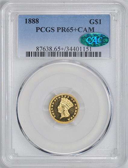 Picture of 1888 GOLD G$1, TYPE 3 PR65+ Cameo
