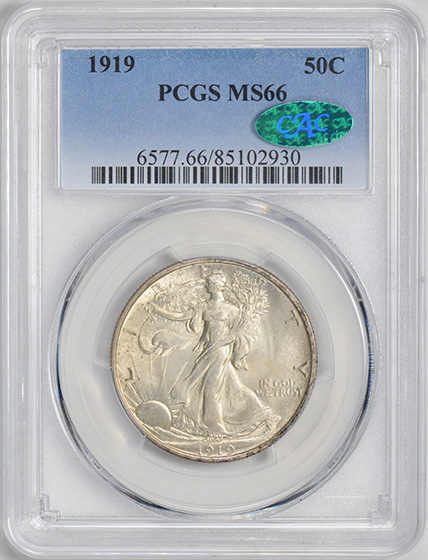 Picture of 1919 WALKING LIBERTY 50C MS66