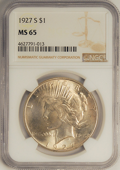 Picture of 1927-S PEACE $1 MS65