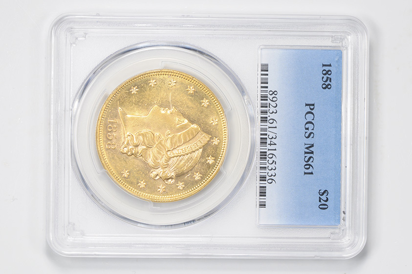Picture of 1858 LIBERTY HEAD $20 MS61